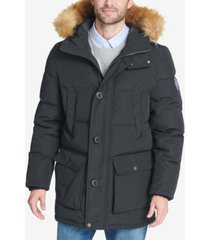 tommy hilfiger men's big & tall long parka with faux-fur hood