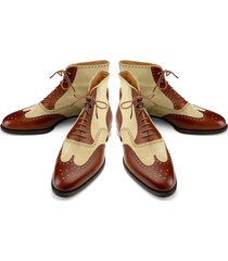 handmade classic brown beige leather boots dress casual leather jeans for men