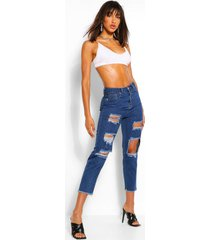 distressed mom jeans met hoge taille, middenblauw