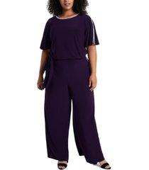 msk plus size rhinestone-trim belted jumpsuit
