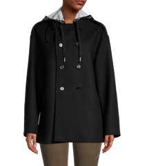 redvalentino women's wool-blend hooded double-breasted jacket - nero - size 40 (8)