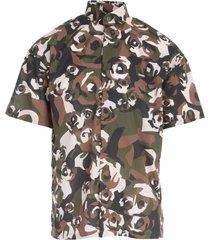 popeline s/s shirt w/roses printing