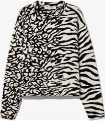 proenza schouler white label animal jacquard knit pullover white/black l