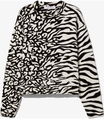 proenza schouler white label animal jacquard knit pullover white/black m