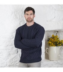 men's honeycomb blasket irish aran sweater navy large