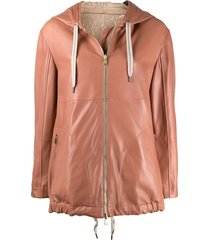 brunello cucinelli mid-length hooded parka - pink