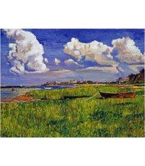 """david lloyd glover a cloudy day at the beach canvas art - 37"""" x 49"""""""