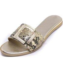 sandalia baja cuero piton oro mailea
