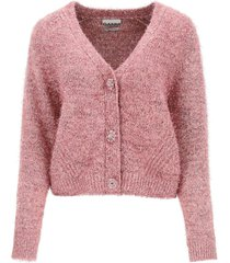 ganni cotton and lurex blend cardigan