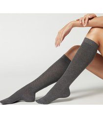 calzedonia tall satin cotton socks woman dark grey size tu