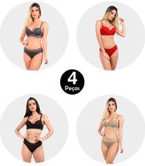kit 4 conjunto imi lingerie com bojo e renda strappy bra vitã³ria sortido - multicolorido - feminino - renda - dafiti