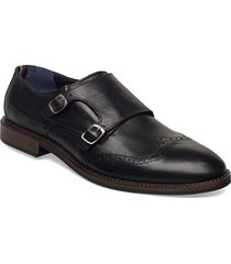 monk straps brogue leather shoe shoes business monks svart tommy hilfiger