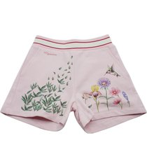 monnalisa cotton fleece bermuda shorts with botanical embroidery