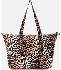 ganni women's recycled tech fabric tote bag - leopard