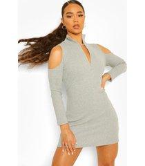 geribbelde mini jurk met hoge ritskraag en uitgesneden schouders, grey