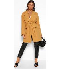 belted pocket detail wool look coat, camel