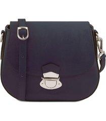 tuscany leather tl141517 tl neoclassic - borsa a tracolla in pelle blu scuro
