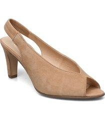 sandals shoes heels pumps peeptoes beige gabor
