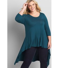 lane bryant women's 3/4-sleeve asymmetrical high-low tunic 14/16 deep teal