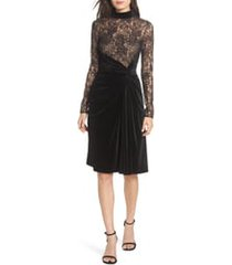 women's t by tadashi lace & velvet sheath dress, size 16 - black