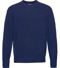 isaac crew neck sweater stickad tröja m. rund krage blå j. lindeberg