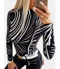 camicetta base a maniche lunghe aderente con stampa zebra per donna