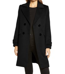 women's sam edelman double breasted coat, size 16regular - black