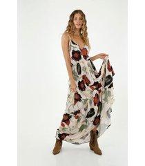 vestido de mujer, diseño maxi con cuello en v de tiras con estampado de hongos