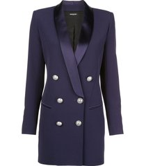 balmain structured blazer dress - purple