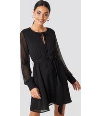 na-kd chiffon belted mini dress - black