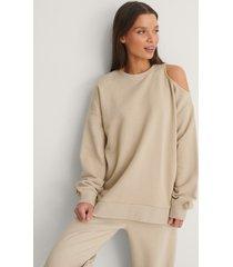 na-kd ekologisk sweatshirt med utskuren detalj - beige