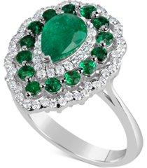 emerald (2 ct. t.w.) & diamond (3/8 ct. t.w.) ring in 14k white gold