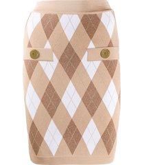 balmain diamond knit fitted skirt - neutrals