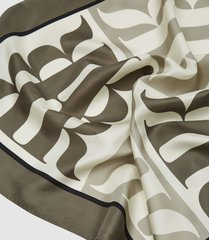 reiss alma - printed silk scarf in taupe, womens