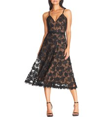 women's dress the population tahani embroidered fit & flare dress, size xx-small - black