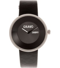 crayo unisex button black genuine leather strap watch 40mm