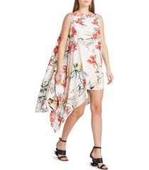 alexander mcqueen women's new day floral silk handkerchief dress - ivory combo - size 40 (4)