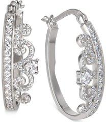 """disney cubic zirconia small tiara hoop earrings in sterling silver, 1"""""""