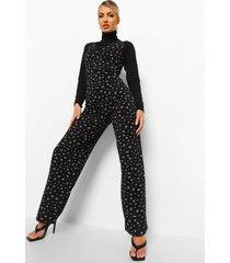 geribbelde bloemenprint jumpsuit met col, black