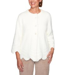 alfred dunner petite dover cliffs feather-yarn jacket