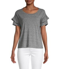 for the republic women's ruffle-sleeve heathered top - grey heather - size m
