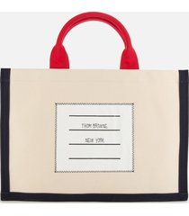 thom browne women's cotton canvas squared tote bag - off white