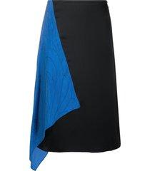 marine serre draped-detail midi skirt - black