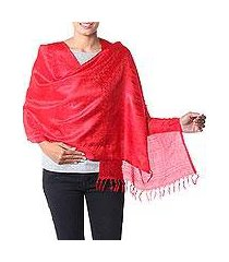 varanasi silk shawl, 'woman in red' (india)