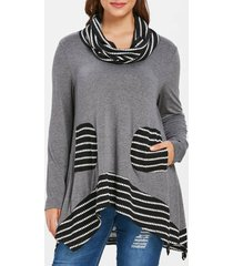plus size pockets tunic top with scarf