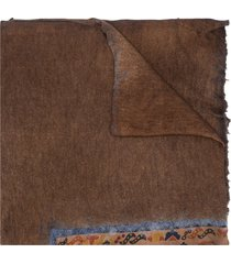 avant toi asymmetric pattern-print oversized scarf - brown