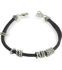 giacomo burroni leather bracelet w/twisted rings