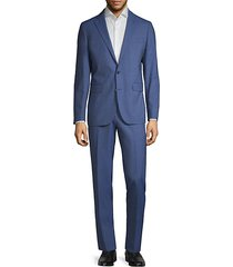 modern-fit plaid wool-blend suit