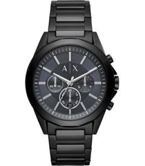 ax armani exchange men's chronograph drexler black & gunmetal stainless steel bracelet watch 44mm