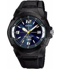 reloj analógico hombre casio mw-600f-2a - negro con azul